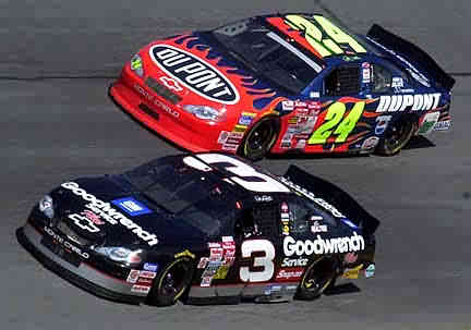 Description: Description: Another picture of Dale and Jeff at Daytona February 18, 2001.  The mentor and the apprentice...'Nuff said!  We miss you Dale R.I.P. #3.  Judging by Jr's performance, it is plain to see that Dale Sr. is riding shotgun in #8