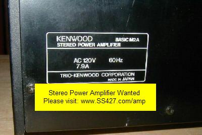 Stereo Power Amplifier manufactured by Adcom, Aragon, Audio Research, Carver, Crown, Denon, Dyanco, Earthquake, Fisher, Harman Kardon, Kenwood, Klipsch, Krell, Marantz, Mark Levinson, Mcintosh, NAD, Onkyo, Pioneer, Revel, Rotel, Sansui, Sherwood, Sony, Sunfire, Teac, Technics, Velodyne, or Yamaha